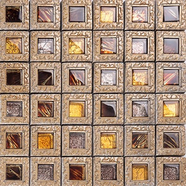Modern Brown Ceramic Tile Wall Art Stone Kitchen Mosaic Subway Backsplash