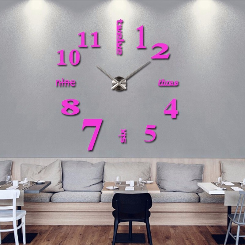16 new arrival Quartz clocks fashion watches 3d real big wall clock rushed mirror sticker diy living room decor free shipping 5