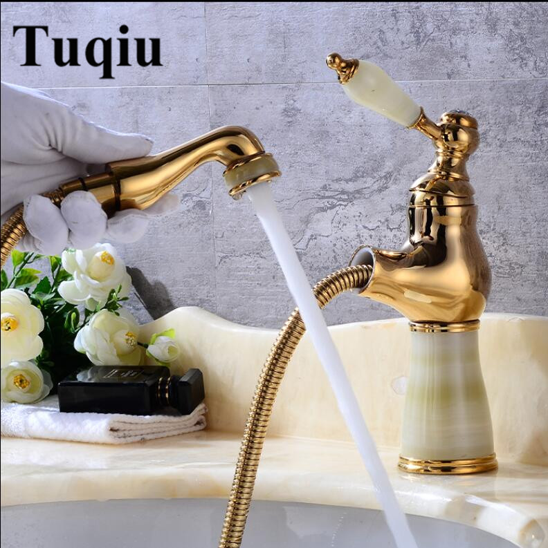 Hot and cold Gold finish Pull out bathroom basin faucet Brass and Jade bathroom sink tap with pull out shower head style