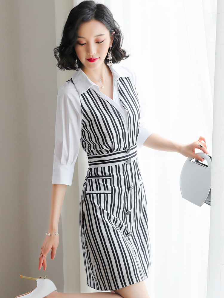 bf0647ed65c Mini Striped Élégante Black Rayé 2019 Printemps Tenue Pour My2396 Robe Femme  Vintage Femmes D été Décontractée White Robes ...