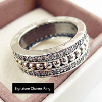 NEW Perfect Charm Engraved S925 Sterling Silver Ring Men women Forever Signature Ring charm anello,Anillo,Anneau,1pz