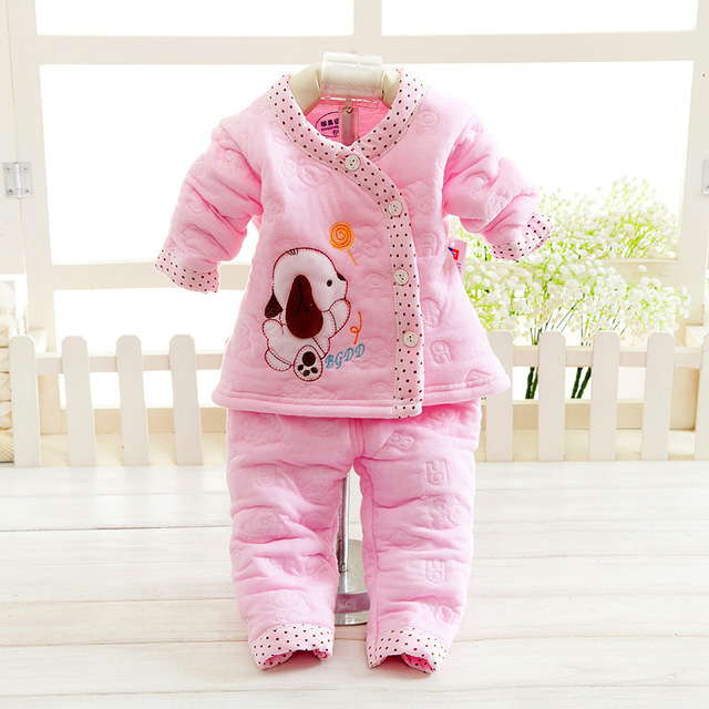 03eef1ad52cd 2PCS Thick Cotto Baby Sets Warm Girls Boys Top Pants Set Winter Dog ...
