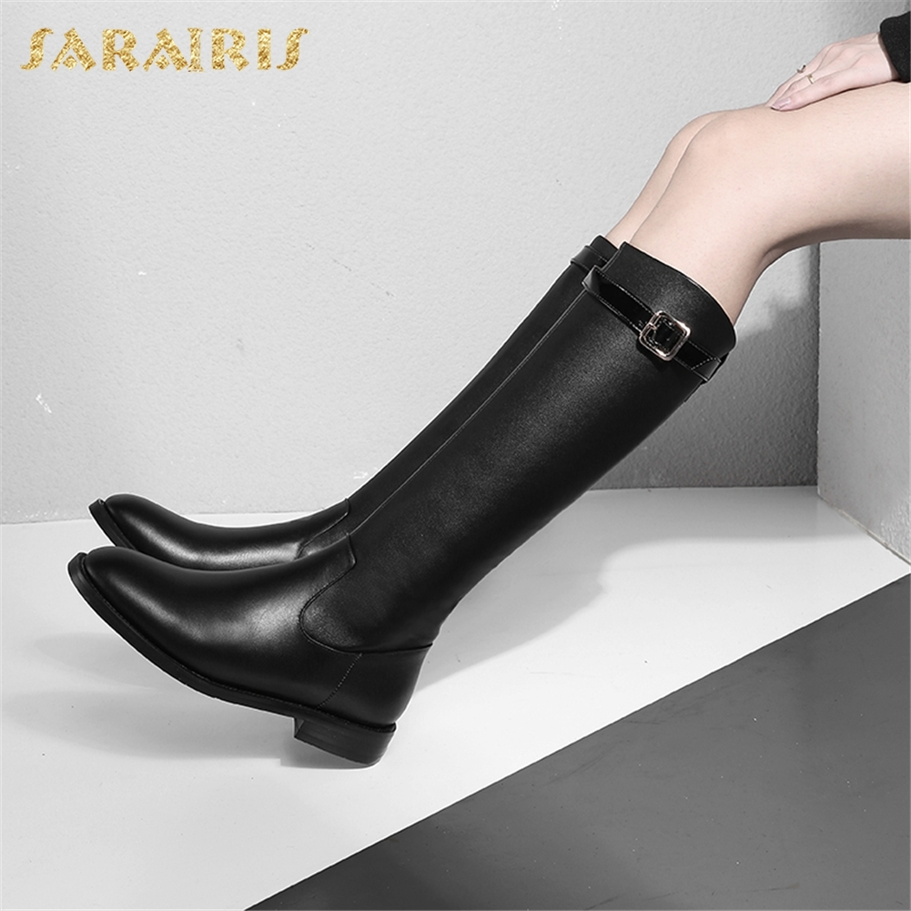 SARAIRIS 2018 Genuine Leather Zip Up Cow Leather Hot Sale Boots Woman Shoes Black Solid Shoes Woman Mid Calf Boot цена