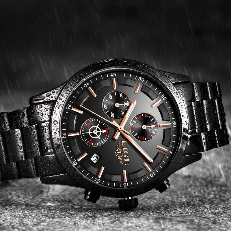 ליגע שעון גברים למעלה מותג יוקרה הכרונוגרף זכר ספורט שעון קוורץ שעון נירוסטה עמיד למים גברים שעונים Relogio Masculino