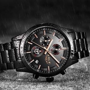 Image 4 - Lige relógio masculino de aço inoxidável à prova dwaterproof água relógios relógio de quartzo relógio de pulso masculino