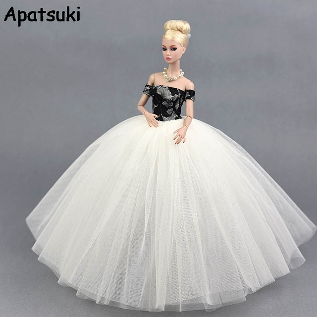Black White 1 6 Wedding Dress Clothes for Barbie Doll Princess Evening  Party Clothes Wears Long Dresses for Barbie Dollhouse f70978547b50