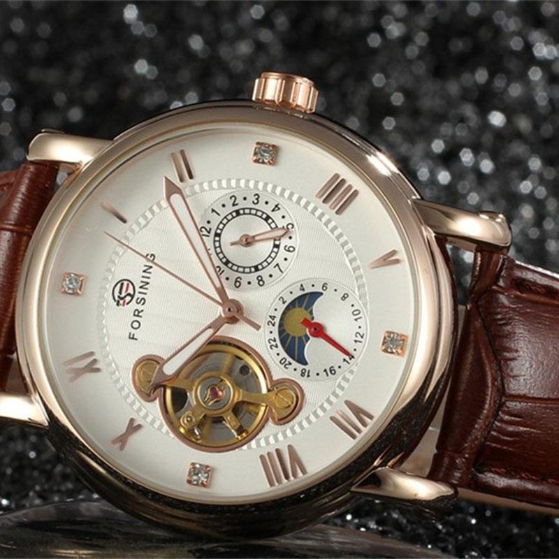 Forsining Automatic Men Watch mechanical Men's Classic Wristwatches Luxury Brand Mechanical Leather Strap Watch цена и фото