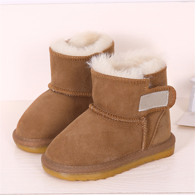 купить Kids Shoes Girls Snow Boots Baby Australia Waterproof Sheepskin Boots Baby Winter Fur Plus Velvet Warm Boots for Kids Size21-28 онлайн