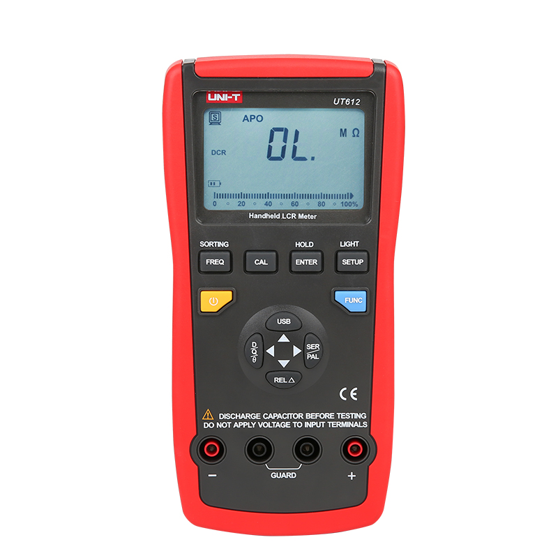 UNI T UT612 LCR-meeter Digitaalse induktiivsuse mahtuvuse takistuse sagedustester Analoogriba graafik USB-liidese automaatne LCR-i mõõt