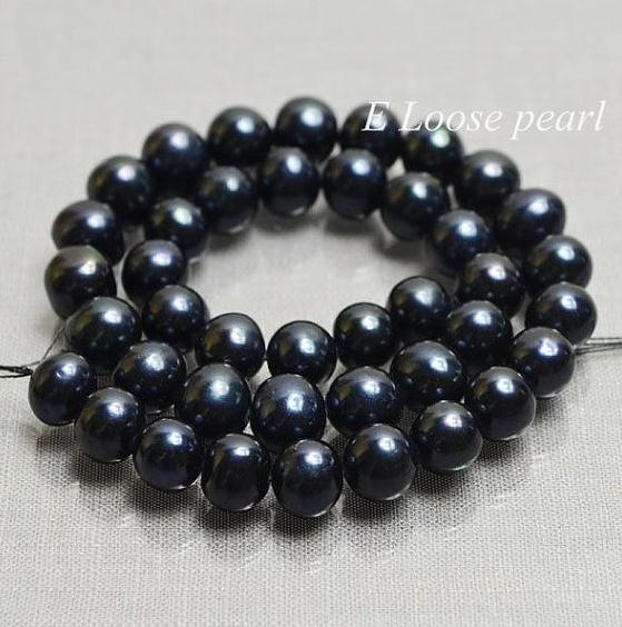 Unique Pearls jewellery Store AA 9-10MM Black Color Potato Round Freshwater Pearl Loose Beads One Full Strand YLS-115Unique Pearls jewellery Store AA 9-10MM Black Color Potato Round Freshwater Pearl Loose Beads One Full Strand YLS-115