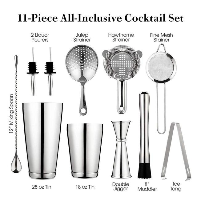 Cocktail Shaker Bar Set: 2 Weighted Boston Shakers, Cocktail Strainer Set,Jigger,Muddler and Spoon, Ice Tong and 2 Bottle Pourer 1