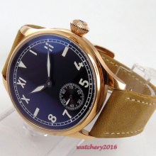 44mm Parnis black dial camel Leather rose golden case 17 jewels 6498 movement Hand Wind Mechanical Men's Watch цены