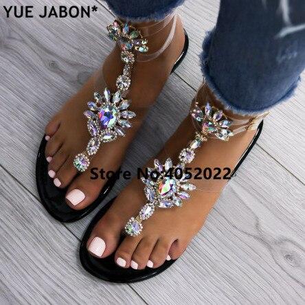 YUE JABON 2019 chaussures sandales femmes femmes Strass Chaînes sandales plates String Cristal tongs sandales sandales spartiates 43