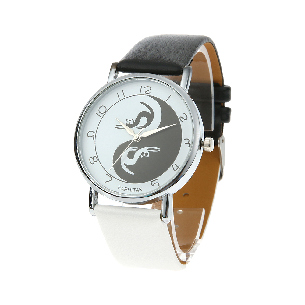Wholesale  Black+ White Women Watch Cat Pattern Leather Band Casual Quartz Wrist Watch Suit For Childern And Adults