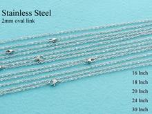 20 pces colar de corrente de cabo de aço inoxidável, corrente de rolo de ligação oval plana de 2mm, corrente de aço inoxidável 16/18/20/24/30 polegadas