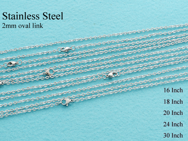 20 pcs   Stainless Steel Cable Chain Necklace, 2mm Flat Oval Link Rolo Chain, Stainless Steel Chain   16/18/20/24/30 Inches