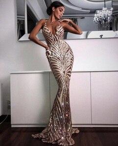 Image 3 - Vc quente elegante lantejoulas maxi vestido longo 2020 novo sexy com decote em v de volta cruz design atacado celebridade festa deslizamento vestido