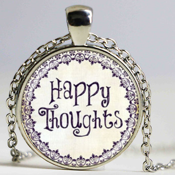 HAPPY thoughts inspirational jewelry quotes words positive thinking art pendant with ball chain necklace image