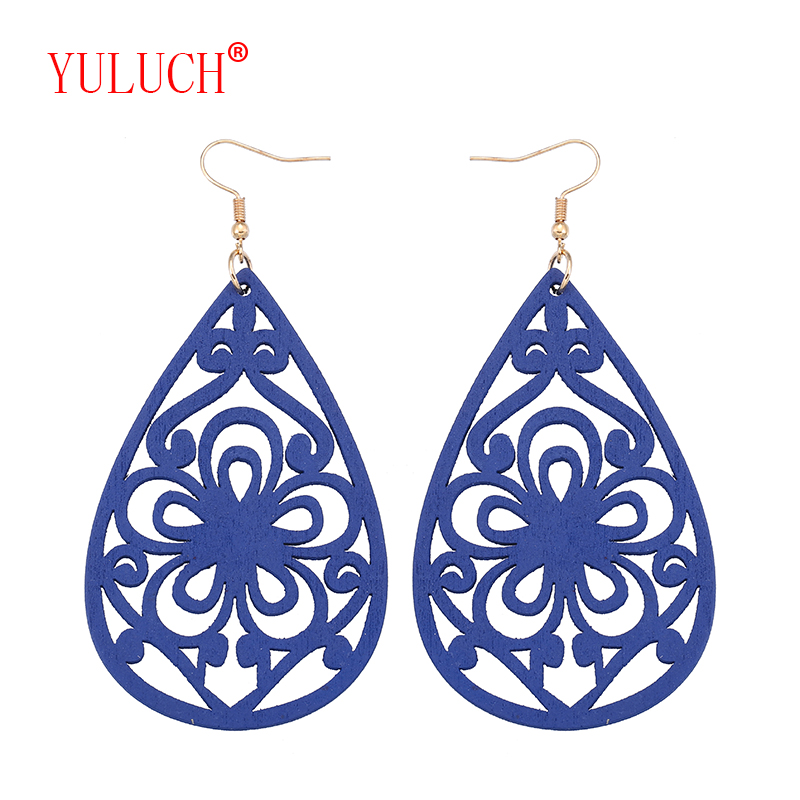 YULUCH Natural African Logs Drops Openwork Flowers Shapes for National Fashion Personality Women Jewelry Pendant Earrings Gifts