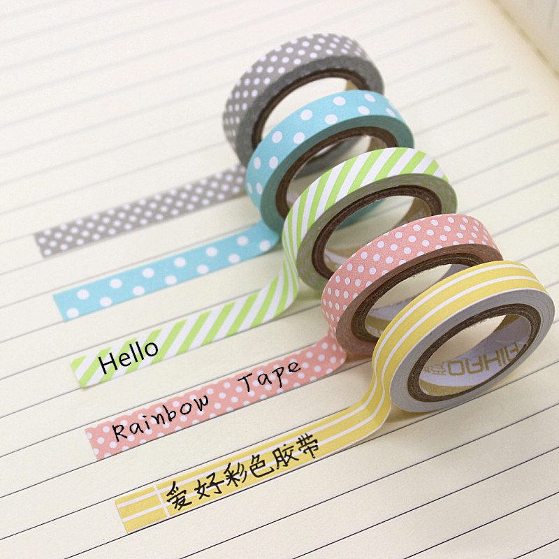5PCS/Pack Candy Color Rainbow Striped Dots Washi Tape DIY Decorative Tape Color Paper Adhesive Tapes 5pcs pack candy color rainbow striped dots washi tape diy decorative tape color paper adhesive tapes