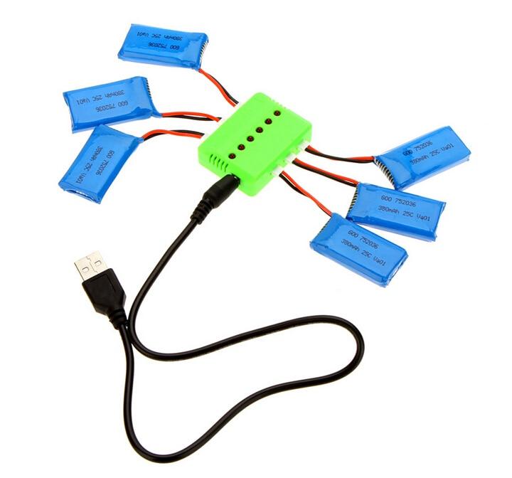 X6 зарядно устройство с 6pcs 3.7V 240mAh 350mAh 380mAh 500mAh 600mah 650mah липо батерия за Hubsan X4 H107 H107L H107C H107D