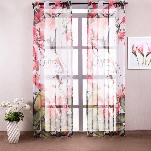 Floreale tulle tenda della finestra drappo pannello sheer colorato ...