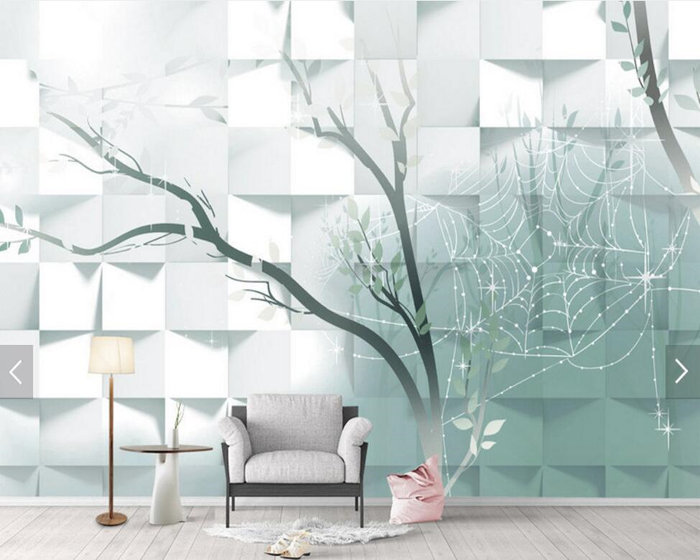 Simple personality geometric Nordic trees 3d wallpaper,living room TV sofa wall bedroom restaurant mural papel de parede custom papel de parede infantil geometric triangular pattern 3d modern mural for living room bedroom tv wall wallpaper