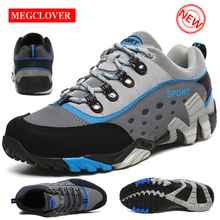 купить Genuine Leather Hiking Shoes Women Waterproof Non-slip Camping Travel Sport Climbing Ladies Shoes Men Mountain Trekking Sneakers дешево