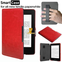 Free Shipping Ultra Slim Magnetic Leather Smart Case Cover With Hand Holder For Amazon Kindle Paperwhite