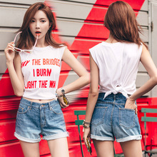 2017 new summer Camisole female loose short slit sleeveless T-shirt female Korean midriffs tanks camis top