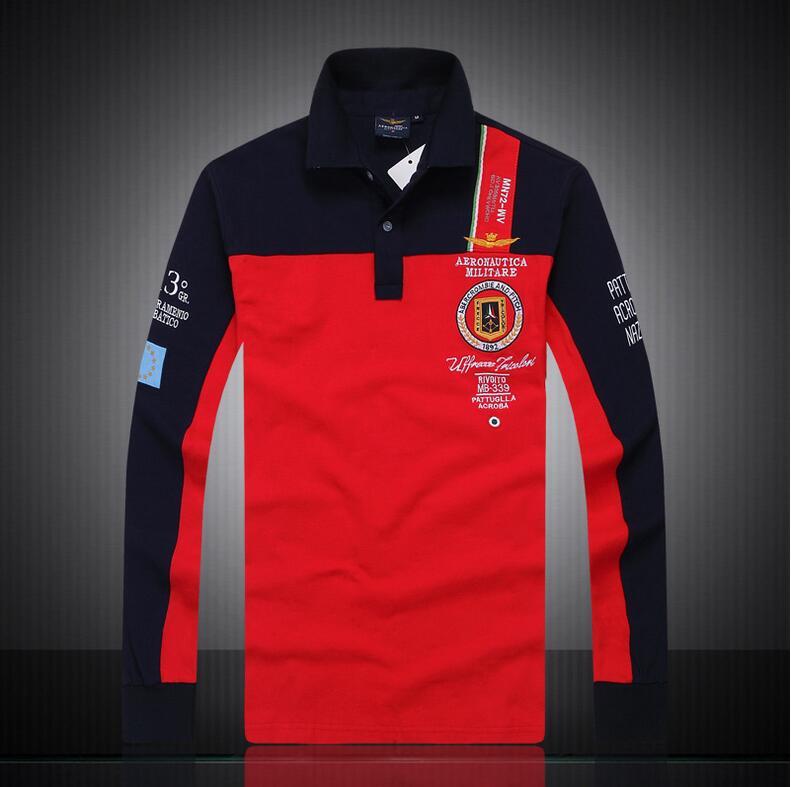 New 2017 aeronautica militare camisa masculina   polo   mens Long sleeve shirts,high quality Air force one shark   polos   clothing