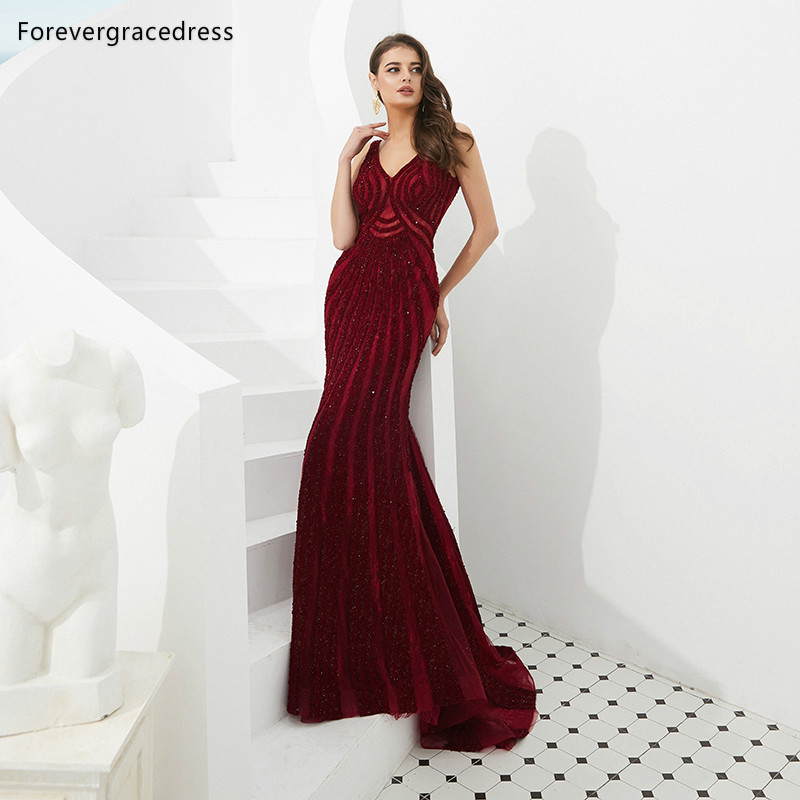 Forevergracedress Actual Images Luxury Burgundy   Prom     Dresses   2019 V Neck Sequins Formal Party Gowns Plus Size Custom Made