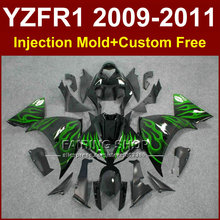 Green flame motorcycle fairings for YAMAHA Injection mold YZF R1 09 10 11 12 R1 bodyworks YZF1000 YZFR1 2009 2010 2011