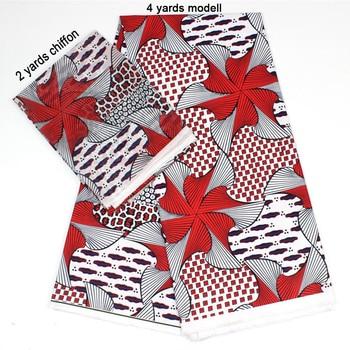2 Pcs Set 4 Yards African Ankara Prints Modell Material & 2 Yards Chiffon Ankara Chiffon Fabric YBXM-29