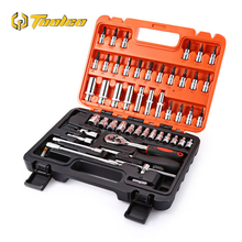 53pcs 1/4-Inch Car Repair Tool Precision Ratchet Wrench Set 1/4-Inch Socket Wrench Set Hardware Tool Kit hot selling 23 53pcs spanner socket set 1 4 car repair tool ratchet wrench set cr v hand tools combination bit set tool kit