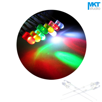 100Pcs Free Shipping Sample 3mm Long Pins Through Hole High Brightness LED Diode Light Color=Green/Red/Yellow/Blue/White image