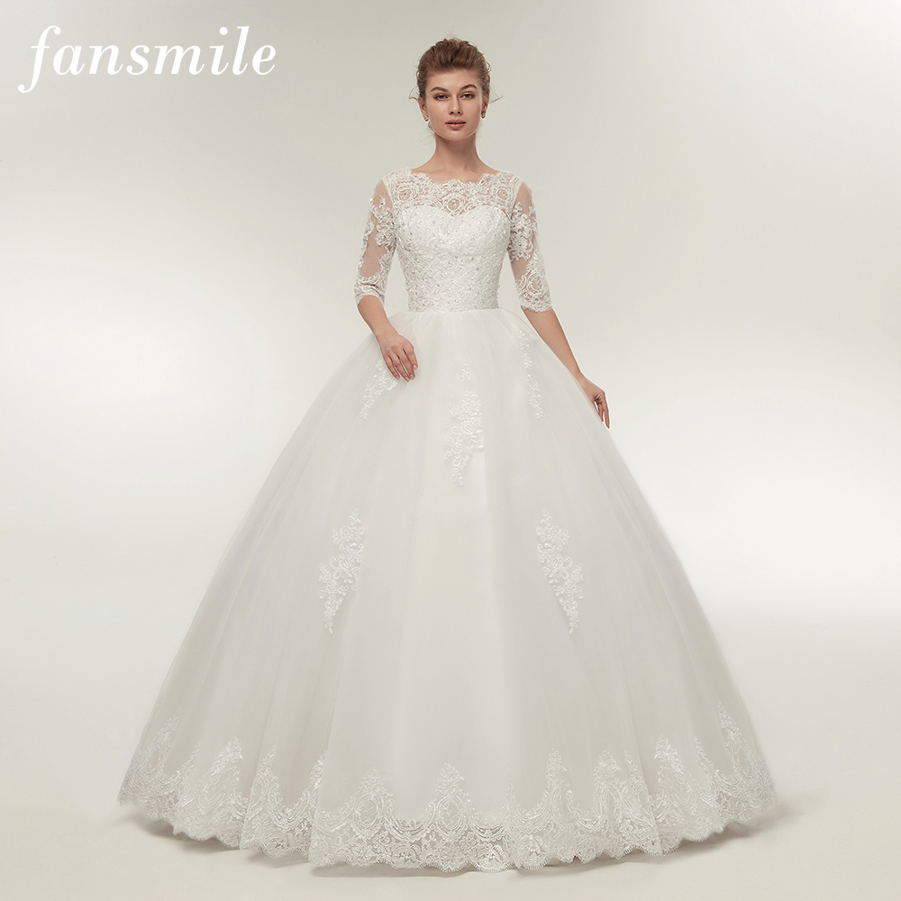 Fansmile Real Photo Vintage Lace Up Ball Wedding Dresses 2019 Customized Plus Size Bridal Wedding Gowns Free Shipping FSM-145F