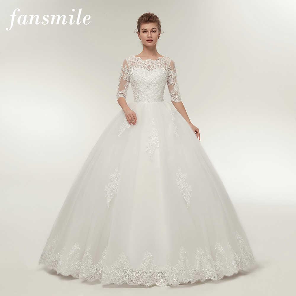 dc9c6110b Fansmile foto Real Vintage de encaje bola vestidos de boda 2019  personalizado Plus tamaño vestidos de