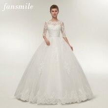 Fansmile 리얼 포토 빈티지 레이스 공 웨딩 드레스 2020 사용자 정의 플러스 사이즈 신부 웨딩 드레스 무료 배송 FSM 145F