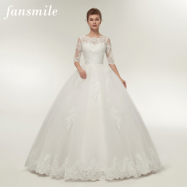 Fansmile Real Photo Vintage Lace Up Ball Wedding Dresses 2017 ...
