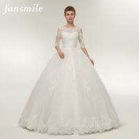 Fansmile Real Photo Vintage Lace Up Ball Wedding Dresses 2019 Customized Plus Size Bridal Wedding Gowns Free Shipping FSM 145F