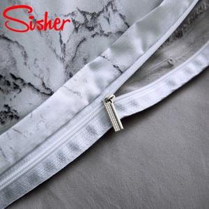 Image 5 - Sisher 현대 대리석 인쇄 침구 세트 화이트 블랙 이불 커버 세트 싱글 더블 퀸 킹 사이즈 침구 이불 침대 시트 없음