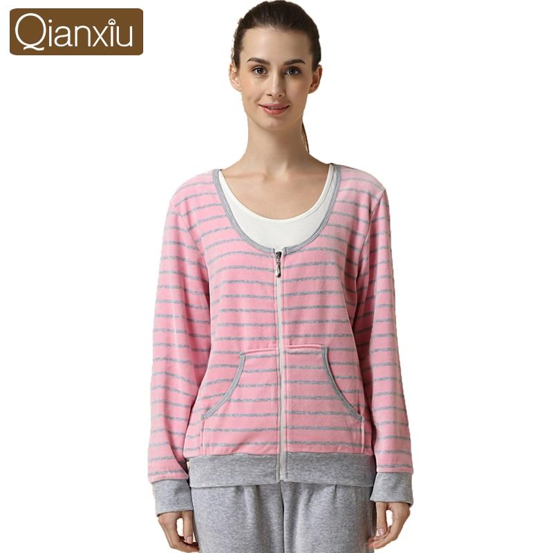 Qianxiu autumn new women velvet pajama sets long sleeve softness comfort sleepwear woman Classic stripe Warm Nightgown Female
