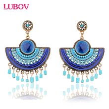 Semicircular Bohemian Tassel Pendant Drop Earrings Big Bead Exaggeration Vintage Women Dangle Earrings Trendy Jewelry 2018 New
