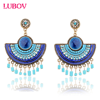 Semicircular Bohemian Beaded Drop Earrings