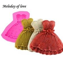 3D Красивая свадебная юбка силиконовая форма для девочек платье мыло формы DIY помадка инструменты для украшения выпечки, торта T0011