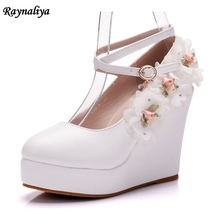 цена Handmade Plus Size 33-43 Women Pointed Toe Wedges Heel Party High Heels Pumps Shoes Ladies Rhinestone Wedding Shoes XY-A0057