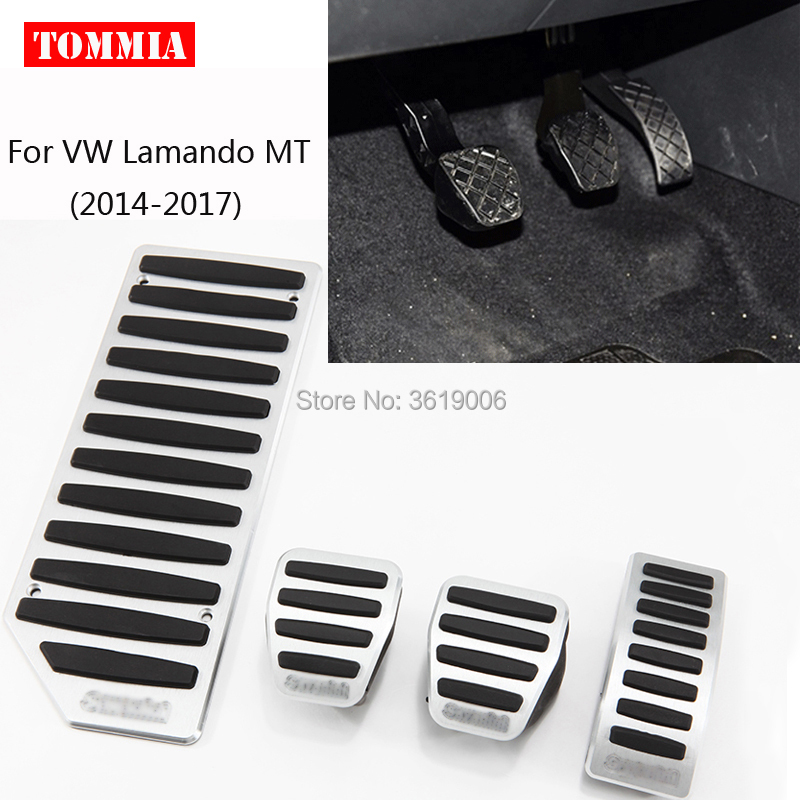 tommia Aluminum Footrest Gas Brake Pedals Pad kit For VW Lamando AT MT 2014-2018 no drilling cool design styling