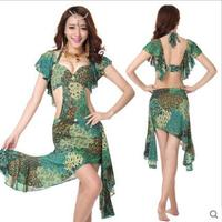 New Belly dance costumes sexy spandex green Peacock belly dance dress for women belly dance exercie dresses S-XL4kinds of colors
