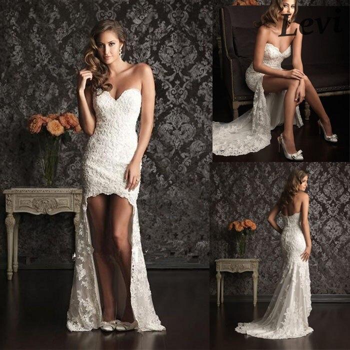 Casamento Wedding Gown Vintage Lace High Low Dresses Short Front Long Back Elie Saab Dress Vestido De Noivas In From
